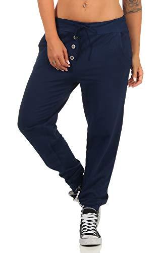 Malito Damen Jogginghose im Classic Look | Sporthose in Unifarben | Baggy zum Tanzen | Sweatpants - Trainingshose 8021 (dunkelblau)