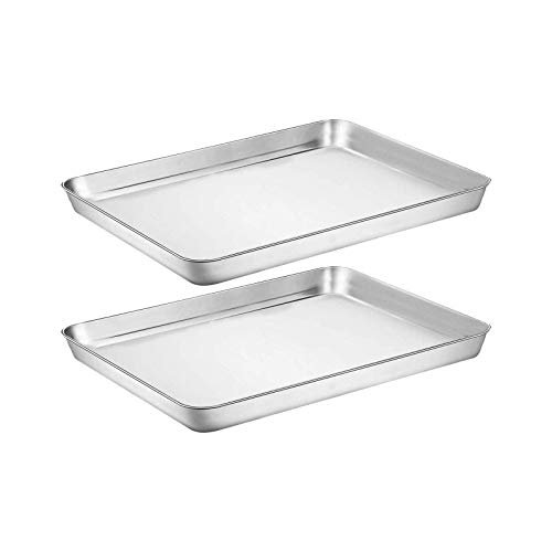 Baking Sheet Cookie Sheet Set of 2, Umite Chef Stainless Steel Baking Pans Tray Professional 10 inch, Non Toxic & Healthy, Mirror Finish & Rust Free, Easy Clean & Dishwasher Safe