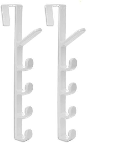 Home-Organizer Tech 5 Layers Over The Door Hook Organizer Rack Hanger Backpack Handbag Door Hook, Pack of 2