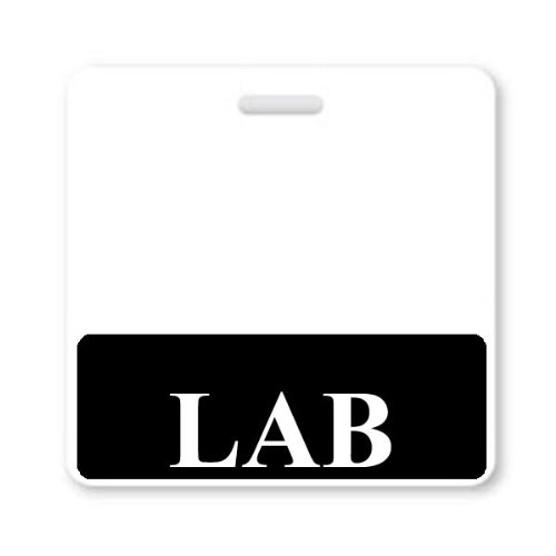 LAB Badge Buddy - Heavy Duty Horizontal Badge Buddies for Laboratory Workers - Spill & Tear Proof Cards - 2 Sided USA Printed Quick Role Identifier ID Tag Backer by Specialist ID