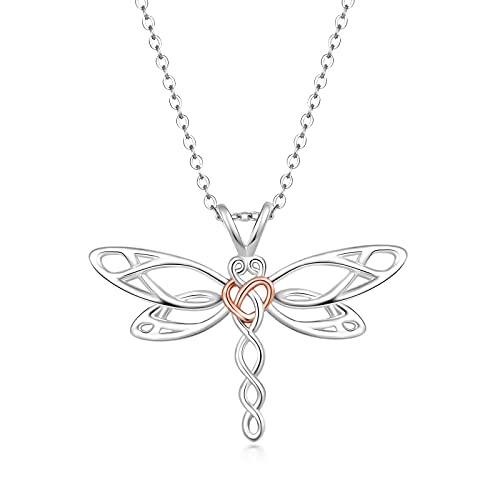 Dragonfly with Heart Pendant Necklace for Women - Rose Gold and Silver Two Tone Plated Dainty Irish Celtic Knot Jewelry Chain 18' (with Gifts Box)