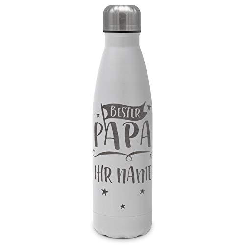 printplanet - Isolierte Trinkflasche mit Text oder Namen graviert - Edelstahl Thermo-Flasche mit Gravur, 500ml - Weiß - Motiv: Bester Papa