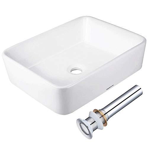 "Aquaterior Rectangle White Porcelain Ceramic Bathroom Vessel Sink Bowl Basin with Chrome Drain 19-2/7""x15""x5-1/8"""