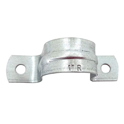 Rigid Pipe Strap Clamp Hanger, 2 Holes, Galvanized or PVC Pipes, IMC Conduit (10, 1 Inch)