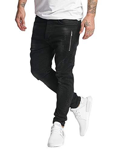 VSCT Clubwear Herren Slim Fit Jeans Thor Slim 7 Pocket with Zips schwarz W 32 L 34