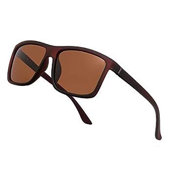 NIEEPA Men s Driving Sports Polarized Sunglasses Square Wayfarer Plastic Frame Glasses  Brown Lens/Brown Frame