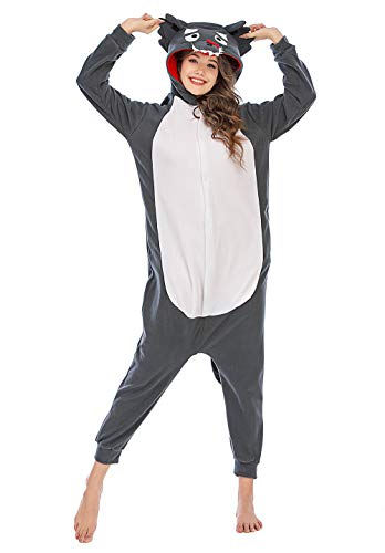 Silver_river Unisex Adult Halloween Tier Onesie Pyjama Kostüm Kigurumi Wolf Schlafanzug Erwachsene Tieroutfit Jumpsuit, Lty33grey, L(170cm-178cm)