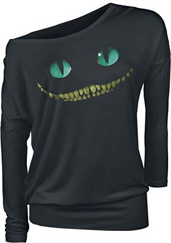 Alice im Wunderland Grinsekatze - Lächeln Frauen Langarmshirt schwarz 4XL