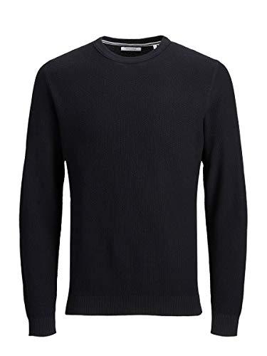 Jack & Jones JJEAARON Knit Crew Neck Noos Sweater, Noir, M Homme