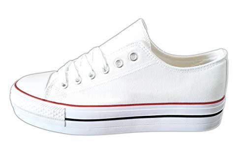 Zapatillas Blancas Mujer con Plataforma Deportivas Canvas de Lona Sin Marca Ni Logotipos, Suela Doble Blanco T.37
