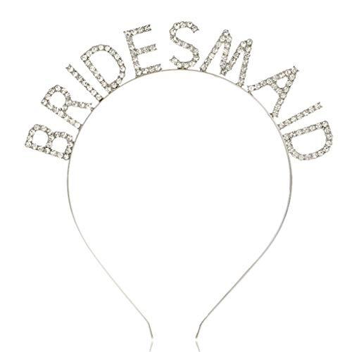 RK-HYTQWR Crystal Bachelorette Bridal Party Bride,Dama de Honor,Dama de Honor Novedad Tiara Accesorio para Diadema para Mujer,Dama de Honor Diadema Blanco K,Blanco K