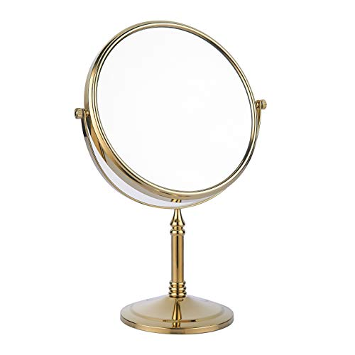 bgl Beauty Mirror Is Used On Both Sides, Dressing Table Mirror 1X / 3X, 8' 360 Rotating Magnifying Glass, Brass Bathroom Mirror (Gold)