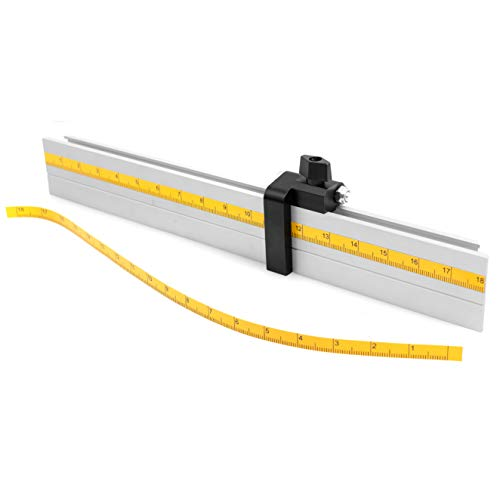 """Fulton Universal Aluminum Miter Gauge Fence with an Aluminum Flip Stop 18"""" Left Reading Tape 18"""" Right Reading Tape"""