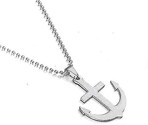 Yiffshunl Collar Fion de Acero Inoxidable Collar de Ancla para Barcos de Acero Inoxidable para Hombre y Mujer Collar de Cadena de Cuello Largo para Hombres Accesorios de joyería Regalos