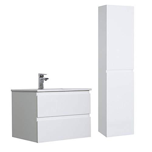 Meuble Salle de Bain 60 cm + Colonne Blanc Sorrento