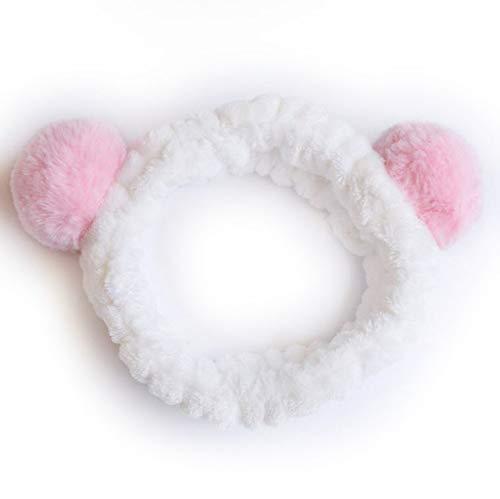 8 PcsWomen's Cute Fashion Girls Wash Makeup Headband Children Kids Hair Band Bow Stretch Hair Band Hair Accessories Gite Gift Pink wool balls
