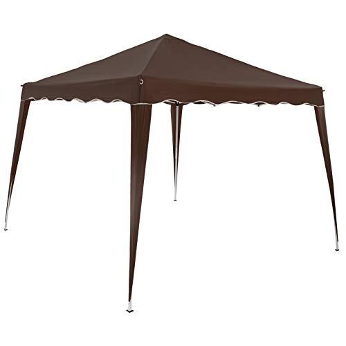 Deuba Pabellon de Jardin cenador Capri Marrón 3x3 m Carpa Plegable de jardín Impermeable y Pop Up para Eventos Camping