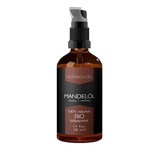 Natrea Mandelöl | kaltgepresst für Gesicht - und Körperpflege 100% reines BIO-Öl in 100 ml Apothekerflasche mit Pumpaufsatz