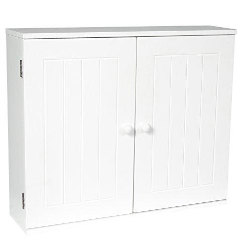 Bath Vida Zweitüriger Wandhängeschrank Badschrank in Lamellen-Optik, Holz, Weiß