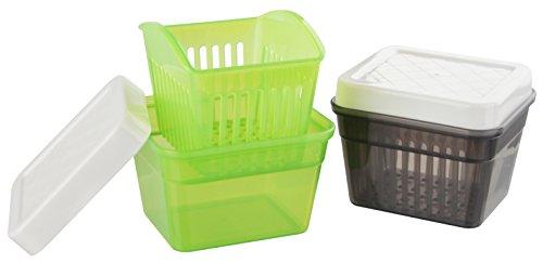 Fackelmann Dose mit Abtropfsieb, Aufbewahrungsbox mit Deckel und Seiher, hochwertige Frischhaltedose mit Verschlussdeckel (Farbe: Grün/Weiß oder Grau/Weiß - nicht frei wählbar), Menge: 1 Stück