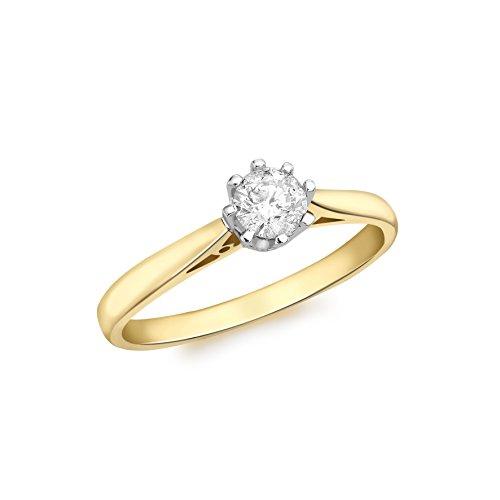 Carissima Gold - 7.48.2432 - Anillo de Oro Amarillo de 18K con Diamante, para Mujer, Talla 14