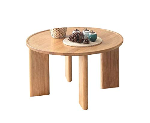 CENPEN Sólido madera redonda mesa baja de roble moderna Armario de madera de cera de aceite Tabla té verde