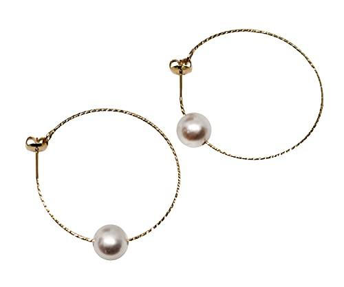 1stAmerican Jewerly - Pendientes de aro para mujer, de plata de ley chapada en oro con perla de agua dulce, diámetro 8,5 x 9,5 mm