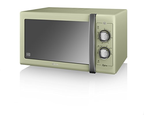Swan Retro SM22070GN Manual Microwave with 6 power levels, 900W, 25 Litre, Green