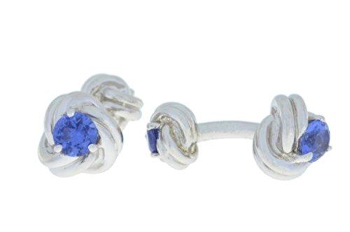 Elizabeth Jewelry 2,5 carats, Tanzanite Boutons de manchette de noeud argent 925/1000 rhodié