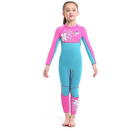 Full Body Kids Wetsuit Neoprene One Piece Warm Swimsuit 2.5MM for Girls Boys Children, Long Sleeve UV Protection Swimming Suit Back Zip for Surfing Scuba Snorkeling Diving Fishing (Girls Flower, XL)
