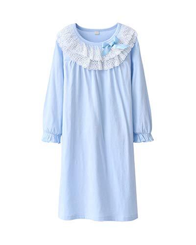 DianShaoA Prinzessin Spitze Bogen Dekoration Nachthemden Für Mädchen Langarm Kinder Schlafanzüge Für 3-12 Jahre Wasserblau 130