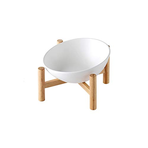 White Ceramic Tilted Elevated Raised Pet Bowl with Wood Stand for Cats and Dogs No Spill Pet Food Water Feeder Small