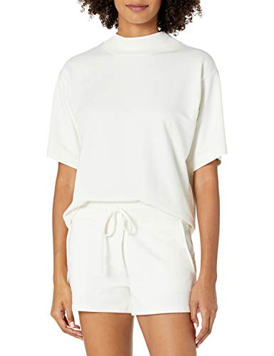 The Drop Damen Adeline T-Shirt, Lockerer Schnitt, Kurze Ärmel, Stehkragen, Überschnittene Schultern Shirt