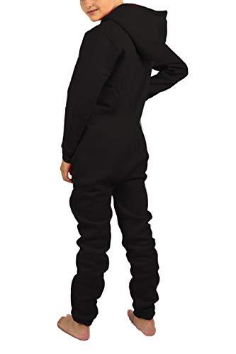 Gennadi Hoppe Kinder Jumpsuit - Jungen, Mädchen Onesie Jogger Einteiler Overall Jogging Anzug Trainingsanzug, schwarz,158-164 - 4