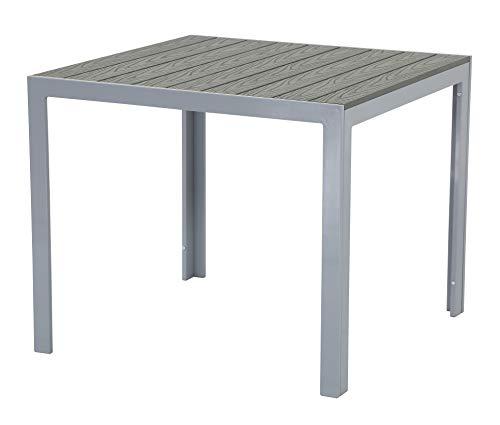 Pure Home & Garden Aluminium Gartentisch Fire mit Polywood Tischplatte, 90x90 absolut wetterfest, Silber aus dem Hause