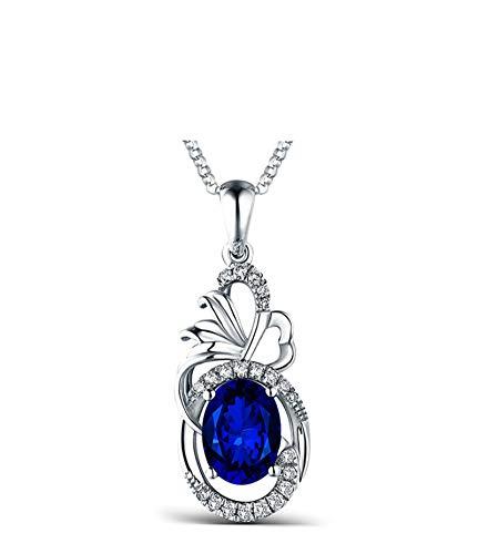 KnSam 18 K Gold Halskette Gold Echt Damen Gold Kette 18 Karat Saphir Hohler Ovaler Diamant Mit 3.37Ct Sapphire Blau