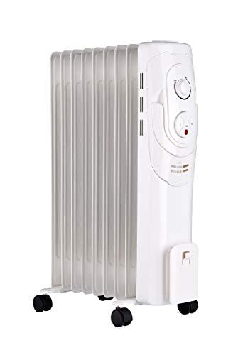 HAVERLAND Hat-9 | Radiador de Aceite | 2000 W | 22m² | Termofluido | Portátil con Ruedas | 3 potencias | Blanco