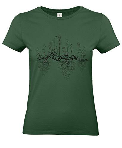 Smilo & Bron Damen T-Shirt Damen mit Motiv Uralter Garten Bedruckt Grün Bottle Green XXL