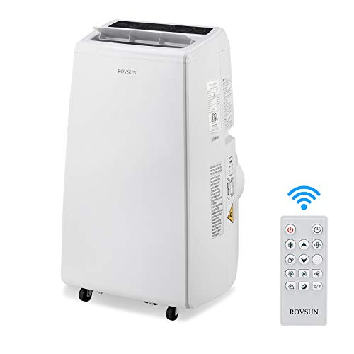 ROVSUN 12,000 BTU 3-in-1 Portable Air Conditioner, Dehumidifier, Fan, for Rooms up to 400 Sq Ft. Floor AC with Remote Control & Rolling Wheels & Window Installation Kit