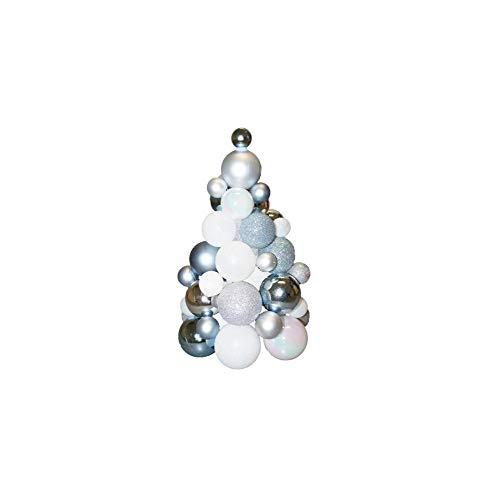Sapin en Boules De Noël - H 30 Cm - Blanc Et Argent - Décoration De Noël