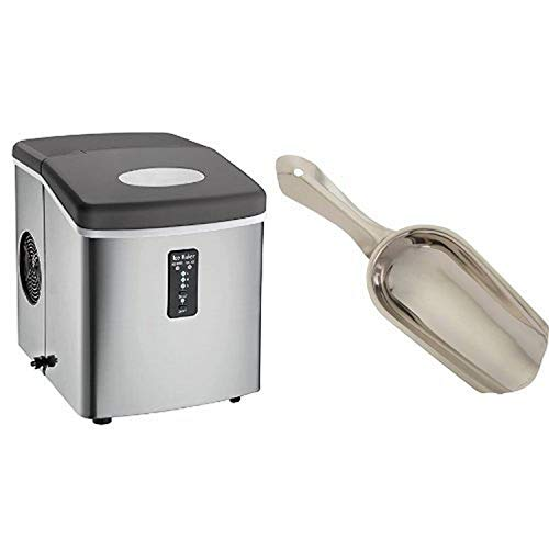 Igloo ICE103 Counter Top Ice Maker with Over-Sized Ice Bucket, Stainless Steel & 4 Ounce Stainless Steel Ice Scoop