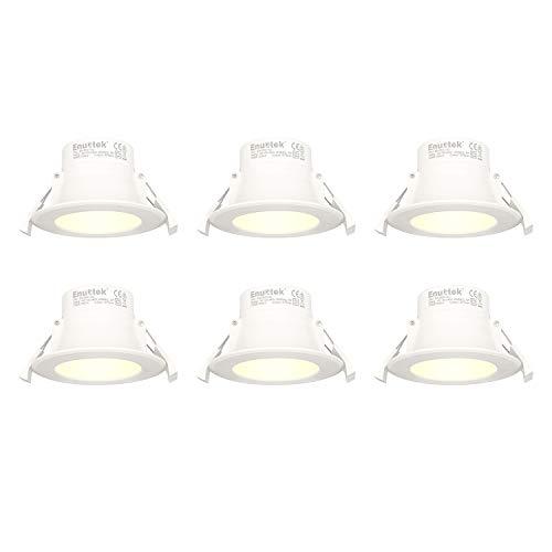 Lampes Plafonnier LED Spot Encastrable a LED 8W Blanc Chaud 3000K Diamètre Trou 70-85MM 220V IP44 pour Salle de Bain Cuisine Lot de 6 de Enuotek