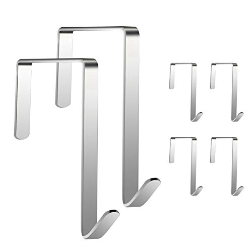JJDPARTS Over The Door Hook, 6 Pack Stainless Steel Door Hook, Door Hangers and Over The Door Hooks for Hanging Clothes, Towels, Coats, Handbags and More