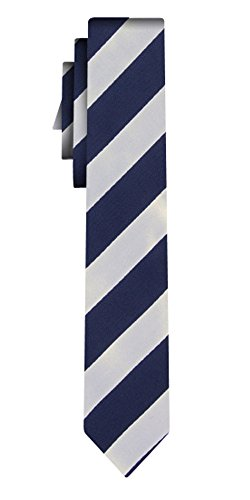 BOSS Seidenkrawatte wide stripe navy white