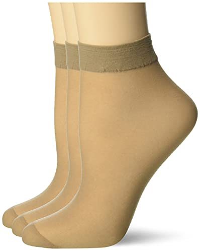 Pretty Polly Damen Comfort Top Ankle Highs 3pp Füßlinge, 15 DEN, Beige (Nude Nude), One Size (Herstellergröße: OS) (3er Pack)