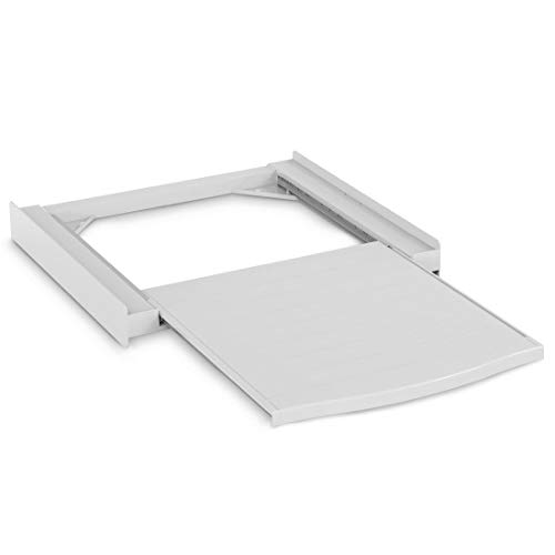 Xavax Zwischenbaurahmen mit Ausziehplatte aus Kunststoff (Verbindungsrahmen für Waschmaschine und Trockner, Zwischenbausatz mit Auszug als Ablage für Wäschekorb, inkl. Zurrgurt) weiß