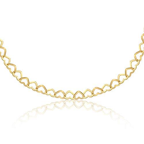 Collana maglia cuoricini - argento 925 bagnato in oro giallo