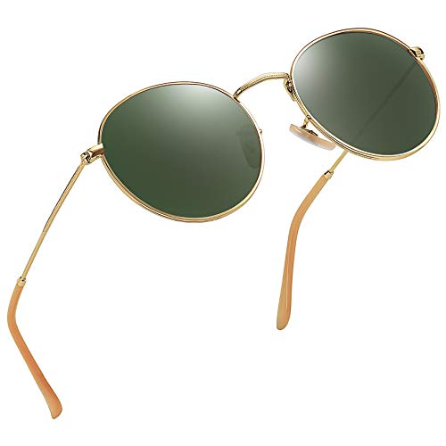 Joopin Vintage Round Sunglasses for Women Retro Brand Polarized Sun Glasses E3447 (Dark Green)