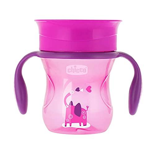 Chicco Perfect Cup Primo Bicchiere per Bambini 200 ml, 1 Tazza Biberon 12+ Mesi per Imparare a Bere, con Membrana in Silicone a 360° e Manici Rimovibili, senza BPA - Rosa o Viola