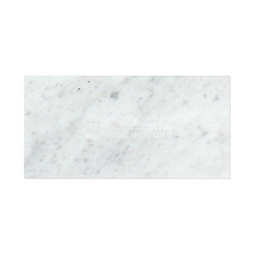 "Carrara White Italian (Bianco Carrara) Marble 12 X 24 Field Tile (2 pcs. 3"" X 6"" Sample Set, Honed)"